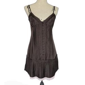 Jenny Han Silk Slip Dress Brown & Pink Small
